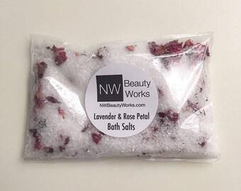 Lavender & Rose Petal Bath Salts Pouches | Contains 100% Pure Dead Sea Salt