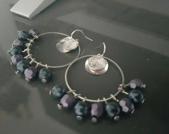Earrings hoops grey and purple beads