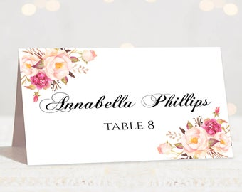Wedding Place Cards Place Card Template Editable Reserved Seating Cards Folded and Flat Name Cards Floral Place Card Tent Card Pastel Blooms