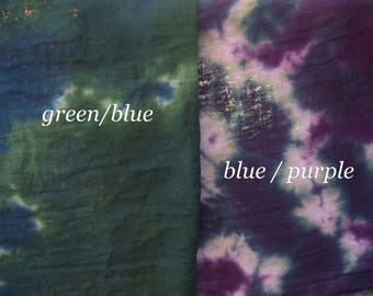 Hand Dyed Harem Cloth, 24x62, Scarves, Fiber Crafts,100% Cotton, Green/Blue or Blue/Purple