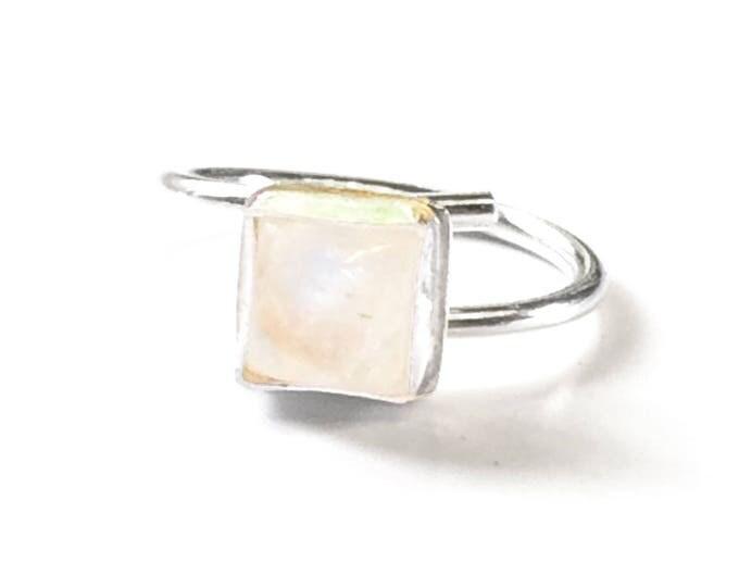 Rainbow Moonstone Adjustable Ring