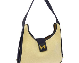 Hermes 79' Vintage Sako Shoulder Hand Bag Purse Toile H Canvas Leather Beige Navy ET00066
