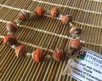 Orange Paper Bead Bracelet