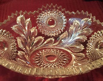 Vintage Large Clear Cut Glass Brilliant Serving Dish with sawtooth edge