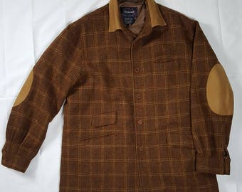 Faconnable Brown Plaid Wool Button Up Long-Sleeve Shirt Leather Elbow Patches Mens Size Large