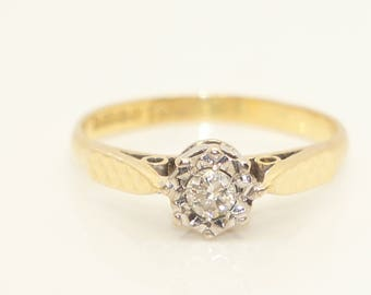 Vintage 1973 18Ct Yellow Gold & 0.1 Ct Solitaire Diamond Engagement Ring, Size K