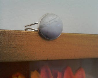 White Howlite silver plated adjustable statement ring