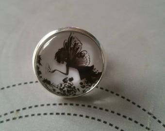 Black fairy cabochon ring
