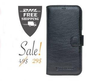 SALE Samsung Galaxy S6 Case, S6 Case, S6 Leather Case, Galaxy S6 Case, S6 Leather Wallet, Leather S6 Case, Unisex Gift, Black S6 Case