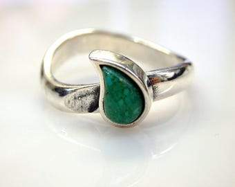 Sterling Silver Turquoise Tear Ring