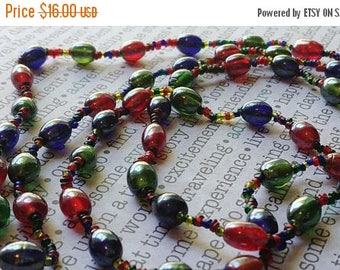 SALE 20% off Long Glass Vintage Bead Necklace Made In India