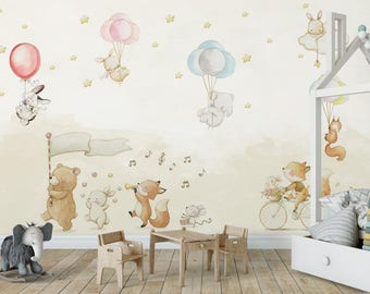 Wonderful Jungle Tour Gang Nursery Wallpaper Baby Bedroom Wallpaper Removable  Self Adhesive Peel And Stick Safari Part 6