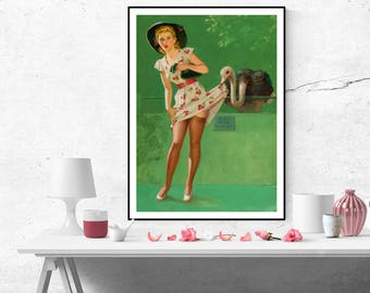 Art Frahm Pin up Girl Ostrich Feathers Vintage Art Poster Canvas Wall Art Painting Print Home decor Pinup poster size A2/A3/A4