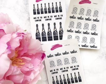 Luxe Life Planner Stickers | Moet bottle, Diptyque candle, champagne, relax, fits any planner