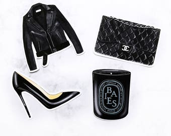 Black is the New Black Fashion Die Cuts | Leather Jacket, candle, purse, high heel