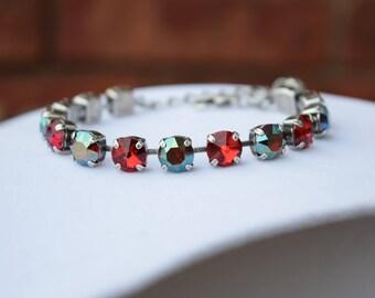 Swarovski Crystal Bracelet in Siam and Iridescent Green - 8mm, Crystal Bracelet, Swarovski Bracelet, Siam Bracelet, Green Bracelet