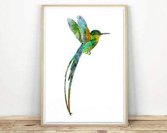Hummingbird Print - Printable Wall Art, Colibri Print, Hummingbird Poster, Bird Silhouette, Bird Wall Decor, Nursery Print, Colibri Poster