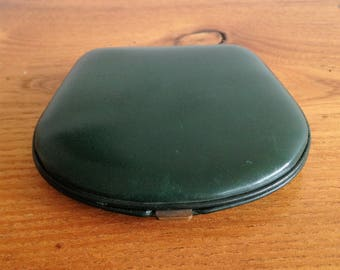 Pocket mirror / compact - green leather - vintage