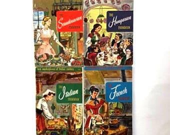 VINTAGE Culinary Arts Institute Staff Home Economists-european cookbooks-set of 4 books-paperback-french scandinavian italian hungarian