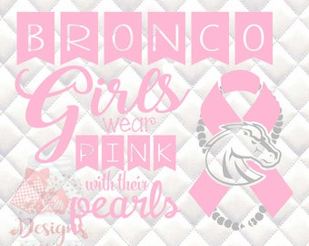 Broncos Mascot Pink and Pearls - Breast Cancer Awareness - SVG, Silhouette studio and png bundle