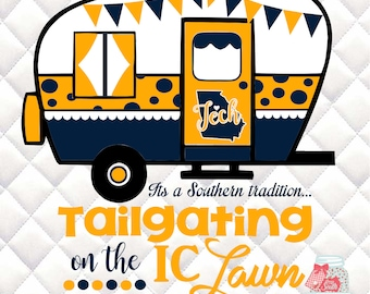 Georgia Tech Camper - Tailgating on IC Lawn - Southern Tradition - SVG, Silhouette studio bundle -  design download