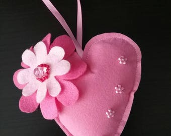 Pink hanging heart, heart ornament, shabby chic