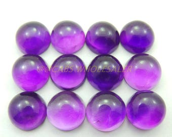 4 Pcs - Natural Amethyst Smooth Round Shape Cabochons - 10 MM Size - Amethyst Cabochons - High Quality - Amethyst Cabochon - Wholesalegems