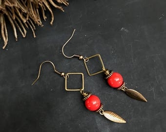 "Earrings ""Summer feelings"". Earrings with gemstone blood coral, metallic square and metal feather."