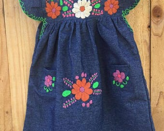 Mexican handd embroidered denim dres size 3T