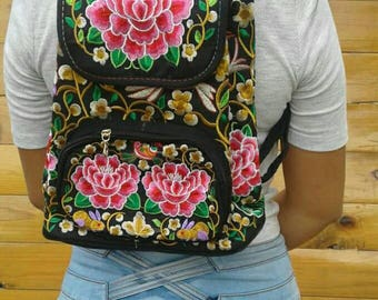 Mexican Embroidered Floral Backpack/ Bohemian Backpack
