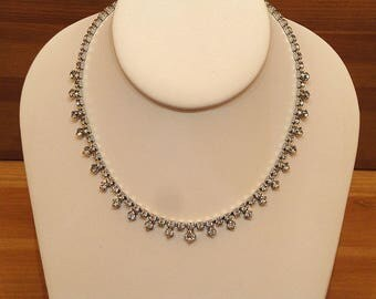Vintage 1960's Crystal Rhinestone Choker Necklace, Vintage Rhinestone Necklace, Vintage Crystal Necklace, Silvertone Rhinestone Necklace