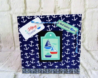 Unique one of a kind male birthday card with Yachts and anchors.