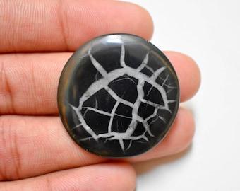 34 mm Round Natural Black Spetarian Loose cabochon , semi precious gemstone , cabochon supply  code- #649