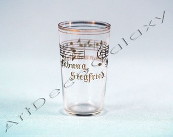 Antique Glass Engraved Wagner Opera Sigfried-19th Century