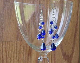 Earrings Three Sapphire Blue Drop Beads and Chain Earrings
