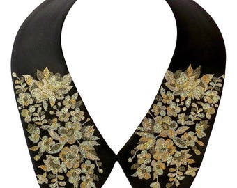 Collar neckpiece with exquisite gold hand embroidery