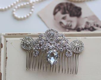 Art Deco Hair Comb , Art Deco headpiece, Bridal Headpiece, Wedding Hair Comb, Vintage Style Crystal Hair Comb , Great gatsby