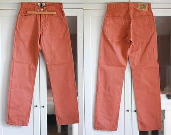 Levis 451 High Waist Jeans Red Orange Denim High Waist Size W30 L32 Vintage Boyfriend Jeans Button Fly
