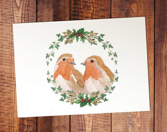 European Robin Watercolor Holiday Card or Print - Friendship