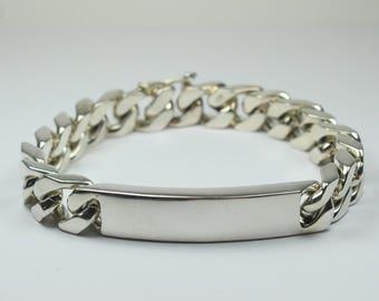 Brutalist Sterling Silver ID Bracelet