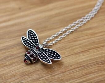 Honeybee pendant, Cubic Honey bee necklace, Bumblebee Pendant Necklace