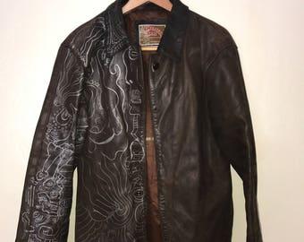 american base international jackets vintage leather brown tattooed/painted