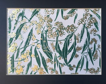 Golden Wattle lino print with gold leaf