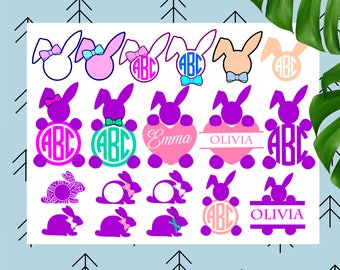 Bunny monogram svg Easter Bundle svg Easter svg Bunny svg Ears svg Happy Easter svg file for Cricut Silhouette easter cut files svg dxf eps