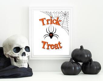 Trick or Treat Printable-digital print-halloween print-halloween decor-halloween party-halloween download-holiday printable-8x10 print