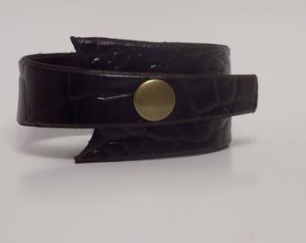 Leather Cuff - Men's Leather Cuff - Women's Leather Cuff - Leather Jewelry - Leather Bracelet - Asymmetrical Leather Cuff - Crocodile Look
