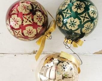 Vintage Kurt S Adler glass ornament balls, bohemian Christmas tree ball set of 3