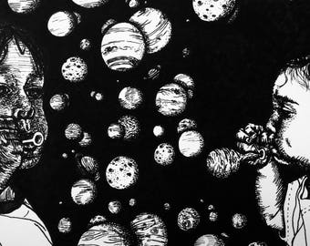 Original Black and White Ink Illustration - Surreal sketchbook art - Space fantasy artwork - planets bubbles dream childhood imagination