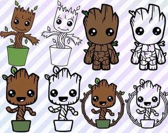 Baby Groot Svg, Guardians of the galaxy Cutfiles, Clipart, Groot dxf, eps Guardians of the galaxy groot Vinyl/T shirt design, Groot Cut file