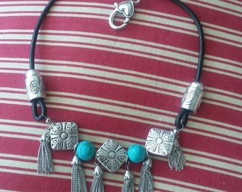 TURQUOISE tone  Choker Great Combo W/Turq Wrap Bracelets